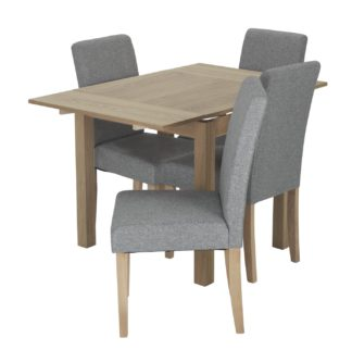 An Image of Habitat Clifton Extending Table & 4 Tweed Chairs - Grey