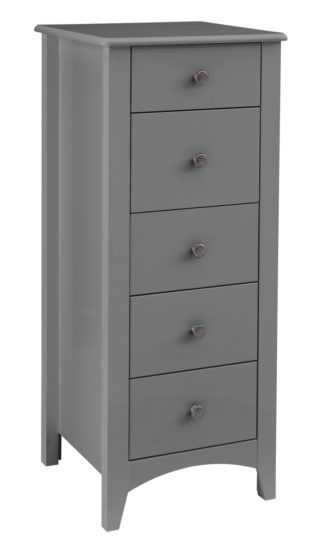 An Image of Habitat Minato 5 Drawer Narrow Tall Boy - Grey
