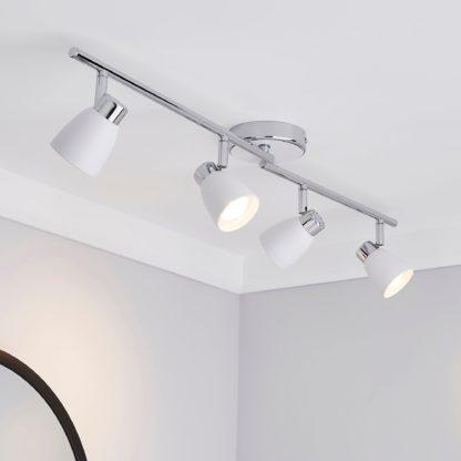 An Image of Alto 4 Light Matt White Spotlight Bar White