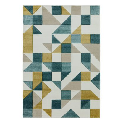 An Image of Asiatic Sketch Geo Rectangle Rug - 120x170cm - Grey & Gold