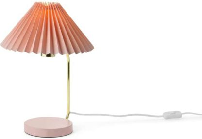An Image of Gaby Pleated Table Lamp, Brass & Pink