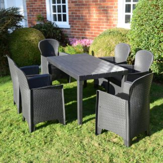An Image of Trabella Roma 6 Seater Dining Set with Sicily Chairs Grey