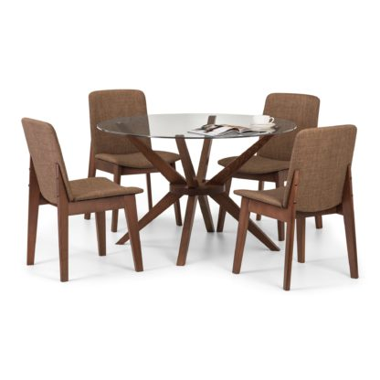 An Image of Chelsea Glass Dining Table with 4 Kensington Chairs Walnut