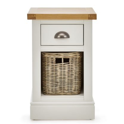 An Image of Compton Ivory Bedside Table with Baskets Cream