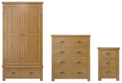 An Image of Habitat Kent 3 Piece 2 Door Wardrobe Set -Oak/ Oak Veneer