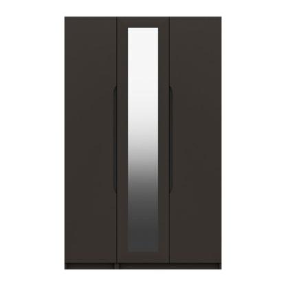 An Image of Legato Graphite 3 Door Mirrored Wardrobe Black