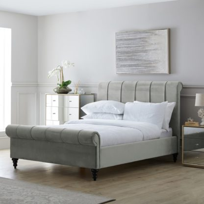 An Image of Classic Grey Pleated Bed Grey