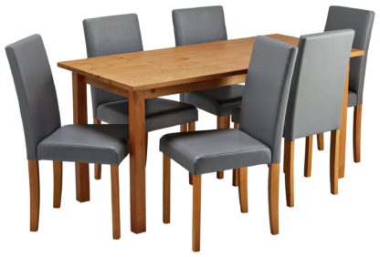 An Image of Habitat Ashdon Solid Wood Dining Table & 6 Grey Chairs