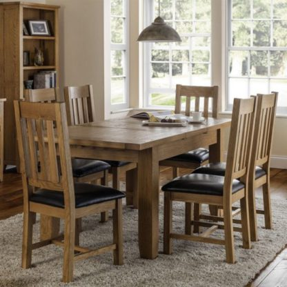 An Image of Astoria Extending Dining Set In Waxed Oak With 6 Chairs