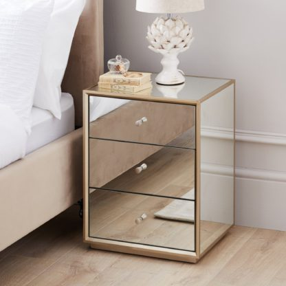 An Image of Harriet Mirrored Bedside Table Silver
