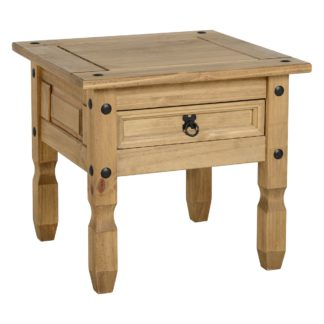 An Image of Corona 1 Drawer Pine Lamp Table Brown