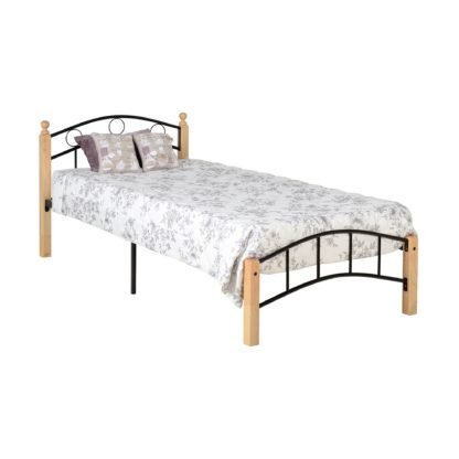 An Image of Luton Black and Natural Single Bedstead Black/Natural