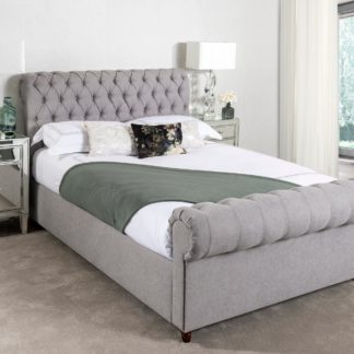 An Image of Fabio Woven Grey Bed Frame Grey