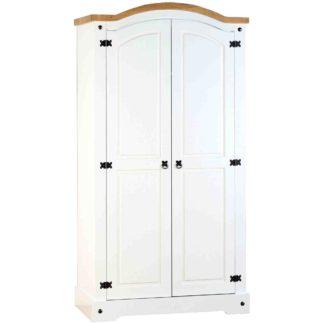 An Image of Corona White 2 Door Wardrobe White