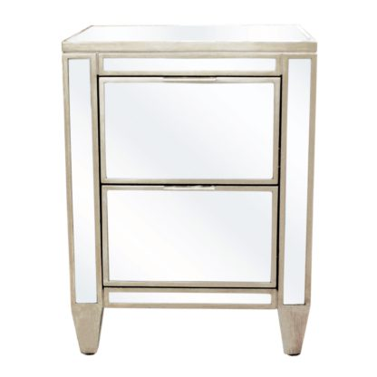 An Image of Fitzgerald Mirrored Bedside Table Silver
