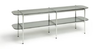An Image of Habitat Neo 2 Shelves Large TV Unit - Chrome