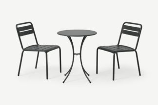 An Image of Emu 2 Seat Bistro Set, Dark Grey Powder-Coated Steel