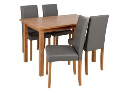 An Image of Habitat Ashdon Solid Wood Dining Table & 4 Grey Chairs