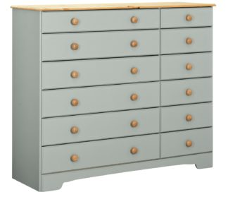An Image of Argos Home Nordic 6+6 Drawer Chest - Grey & Pine