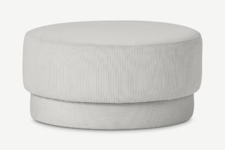 An Image of Volta Pouffe, Large, Stone Grey Corduroy