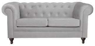 An Image of Habitat Chesterfield 2 Seater Velvet Sofa - Light Grey