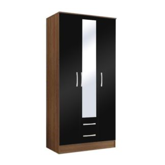 An Image of Lynx Walnut and Black Triple Wardrobe with 2 Drawers Black