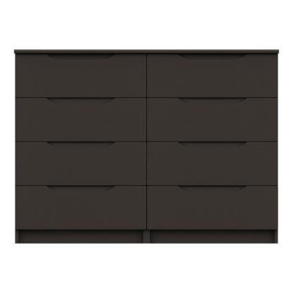 An Image of Legato Graphite Gloss 8 Drawer Wide Chest Black