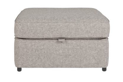 An Image of Habitat Atticus Fabric Storage Footstool - Grey