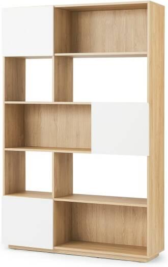 An Image of Hopkins Wide Bookcase, Oak Effect & White