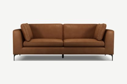 An Image of Monterosso 3 Seater Sofa, Denver Tan Leather with Black Leg