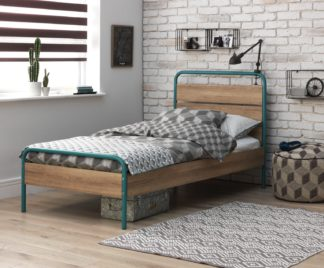 An Image of Argos Home Industrial Single Bed Frame - Dark Oak
