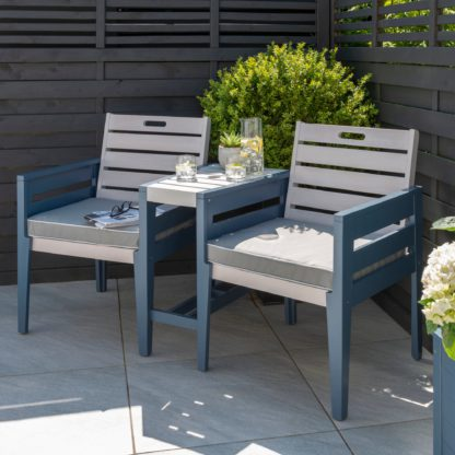 An Image of Galaxy 2 Seater Bistro Set Light Grey