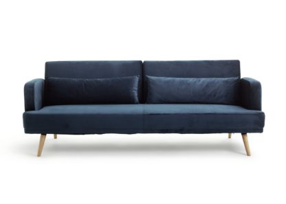 An Image of Habitat Andy 3 Seater Velvet Sofa Bed - Blue
