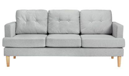 An Image of Habitat Joshua 3 Seater Fabric Sofa - Light Grey