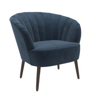 An Image of Rosalie Velvet Shell Chair - Pacific Blue