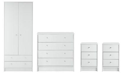 An Image of Habitat Malibu 4 Piece 2 Door Wardrobe Set - White