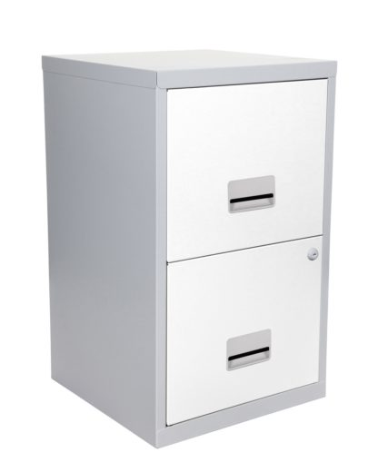 An Image of Pierre Henry 2 Drawer Metal Filing Cabinet - Silver & White