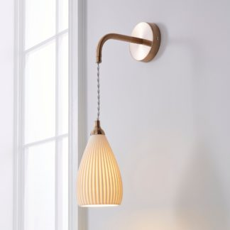 An Image of Dorma Purity Ribbed Porcelain Wall Light White