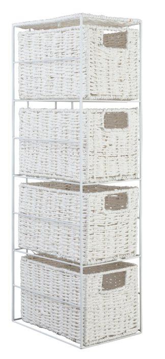 An Image of Argos Home Slimline 4 Drawer Storage Tower - White