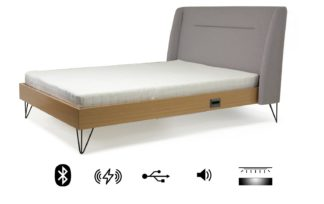 An Image of Koble Snor wireless charging Bluetooth Double Bed Frame-Grey
