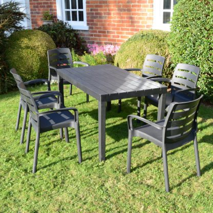 An Image of Trabella Roma 6 Seater Dining Set with Siena Chairs Grey
