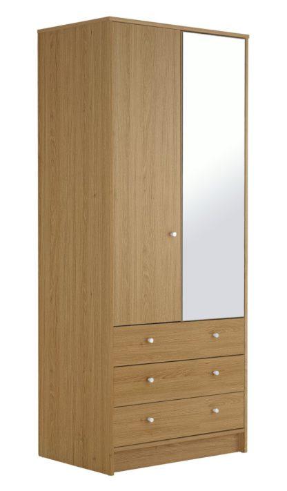 An Image of Habitat Malibu 2 Dr 3 Drw Mirror Wardrobe - Black Oak Eff