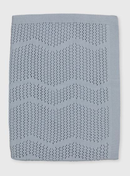 An Image of Blue Organic Cotton Blanket - One Size
