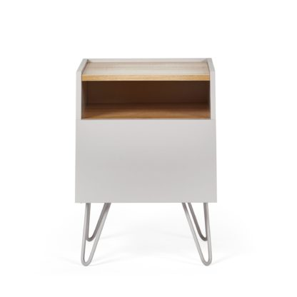 An Image of Penelope Dove Grey Bedside Table Grey and Brown