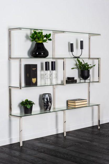 An Image of Miko Double Shelf Unit Chrome