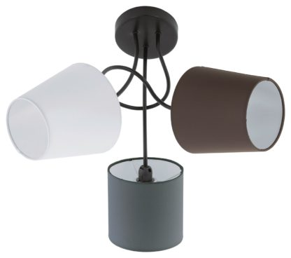 An Image of Eglo Almeida 3 Ceiling Lights with Fabric Shade