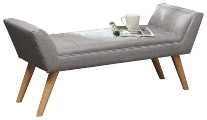 An Image of Milan Fabric Upholstered Bench - Grey