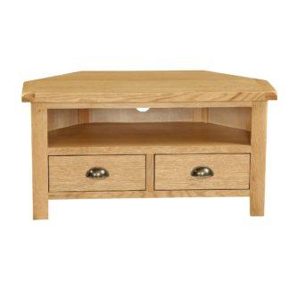 An Image of Sherbourne Oak Corner TV Stand Natural