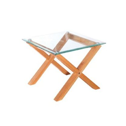 An Image of Cadiz Glass End Table In Oak
