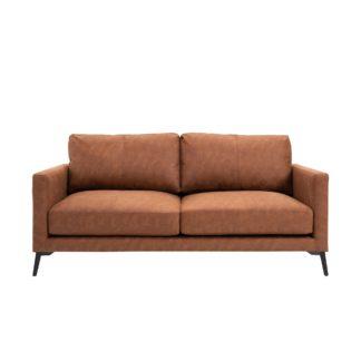 An Image of Frey PU Leather 2 Seater Sofa - Tan Brown